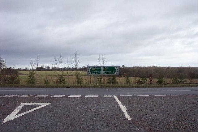 The A40, Cheltenham left, Oxford right