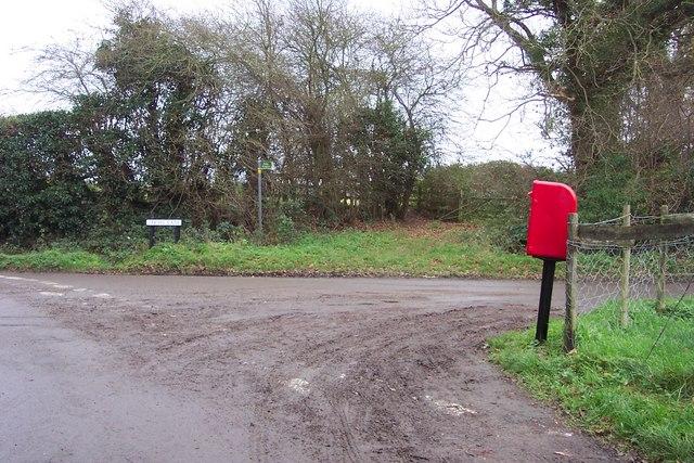 Post box at Bakers Corner