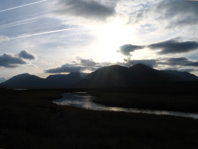 River Pattack with Carn Dearg and Ben Alder in background