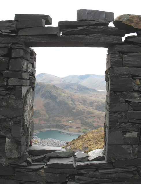 The view through the window from a hut at Ponc Albion