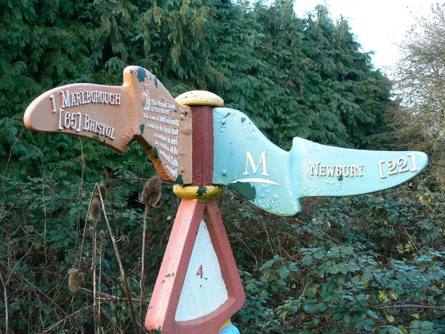Modern milepost, Marlborough, Wiltshire - closeup