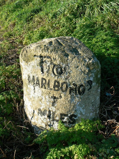 Milestone on A4 at Froxfield, Wiltshire - closeup