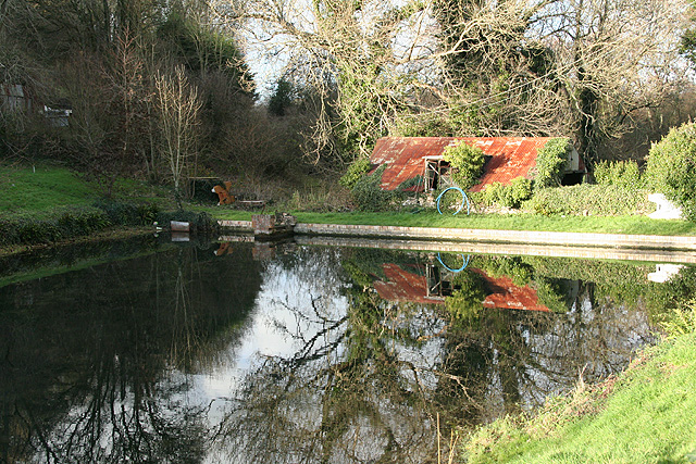 Combpyne Rousdon: pond in Combpyne village