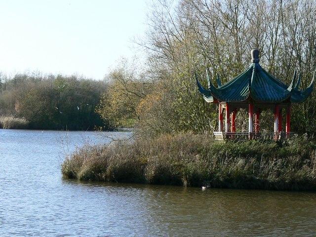 Pagoda on an island in a small lagoon