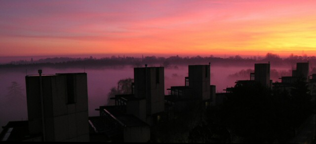 Sunset over Norfolk Terrace, UEA