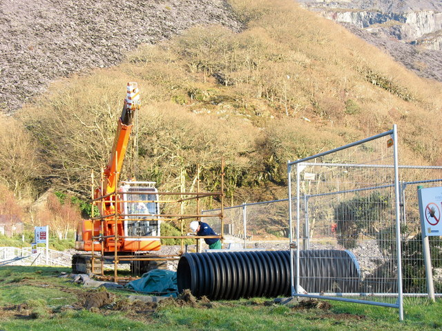 First Hydro workers re-laying a drainage pipe through the Llyn Peris dam