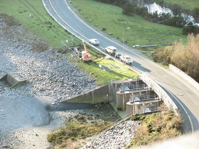 Afon y Bala Dam gates from the third leg of the Zig-Zag Path