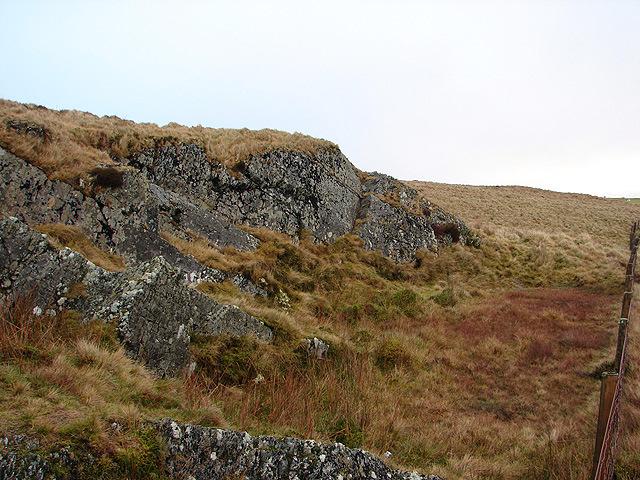 Rock outcrop at Bryn y Fedwen