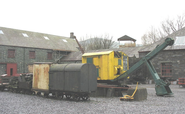 A mechanical shovel and specialist rolling stock at Gilfach Ddu