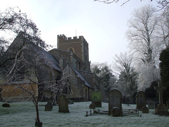 Mentmore Church and frosty trees