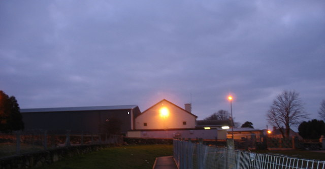 Ysgol Brynrefail at dusk