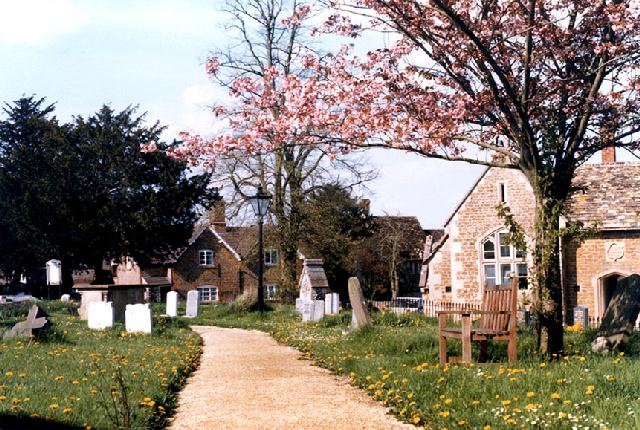 Bremhill churchyard and the old village school
