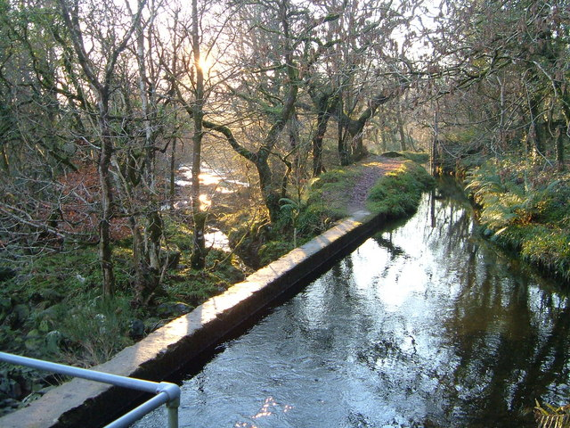 Leat and River Tavy at Hill Bridge