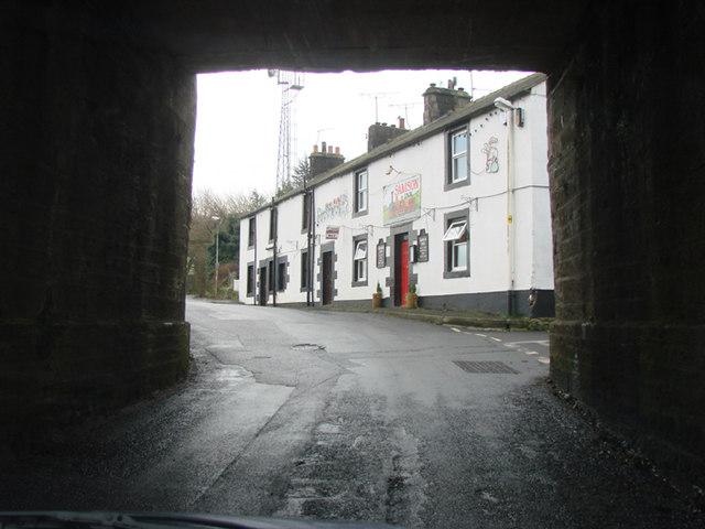 The Samson Pub, Gilsland, viewed through the railway bridge.