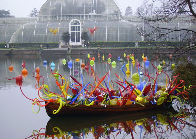 Chihuly glass in boat, morning, Palm House