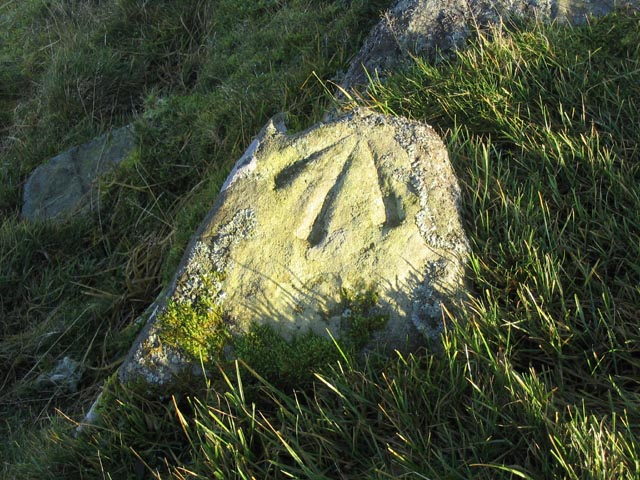 Marked stone on the summit of Cacra Hill