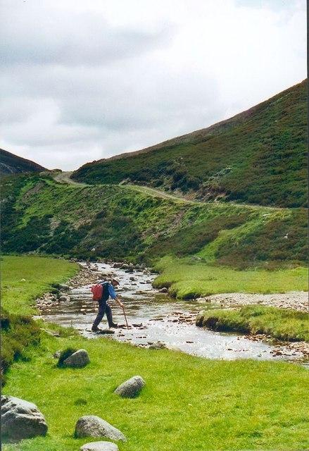 Crossing the burn in Glen Builg