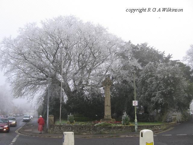 War Memorial in winter, Portway, Warminster