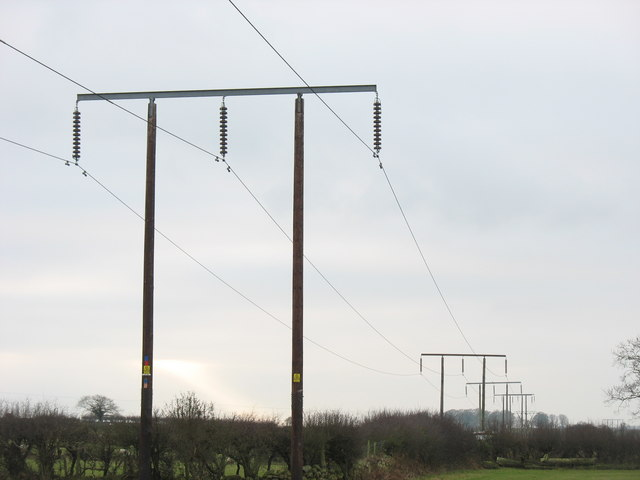 Electricity transmission lines running between Pentir Sub-station and the town of Caernarfon