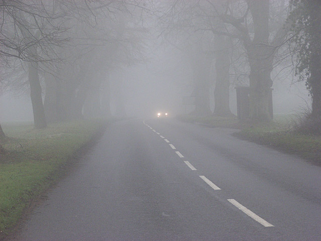 The B481 in fog on Cookley Green