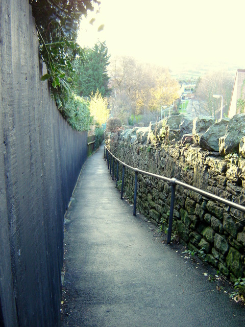 Public footpath leading to hospital in Mold