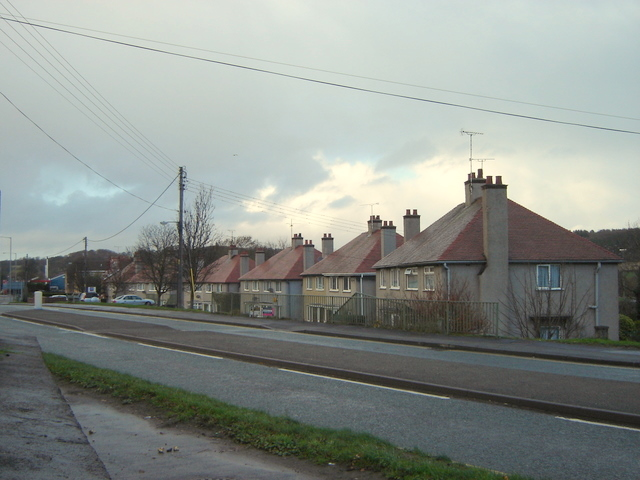 Row of council houses north of Mold