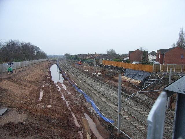 Rail engineering works at Handsacre