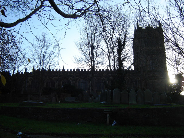 St Mary's church, Mold, in silhouette