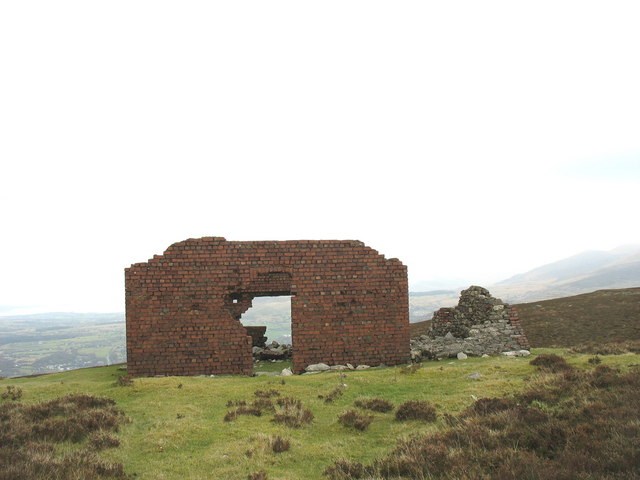 Frontal view of the old Marconi building on Cefn Du