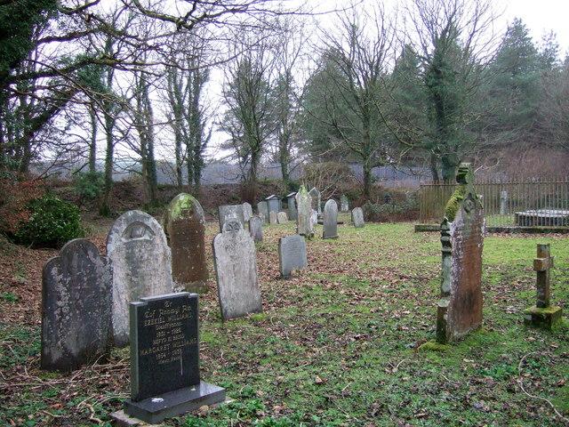 Wintry churchyard, Llanychaer