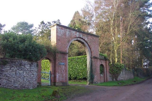 Brick gateway at Pen-y-Clawdd House
