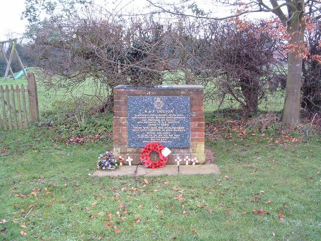 Memorial To RAF Oulton Street