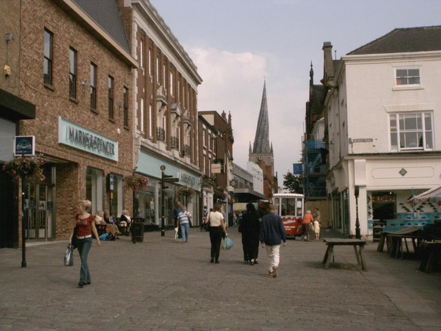 Chesterfield High Street and Crooked Spire