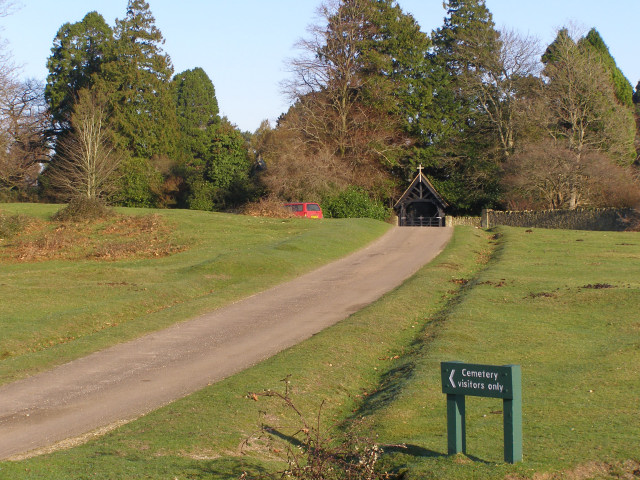 Approach to Lyndhurst Cemetery, New Forest