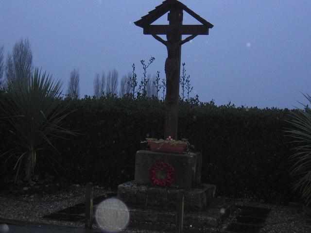 War Memorial in Utkinton Village, near open Cheshire farmland