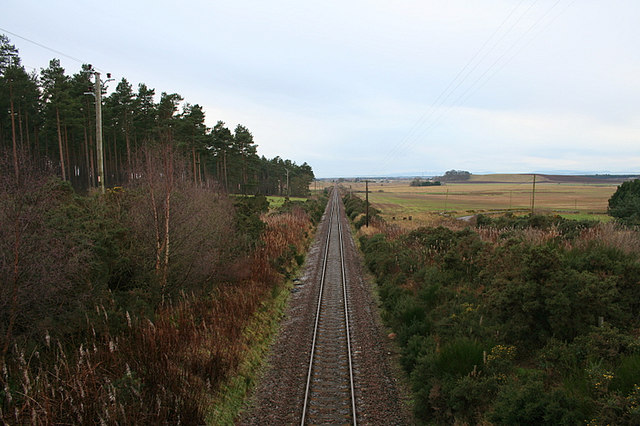 Westerly view from Alves Wood railway bridge.
