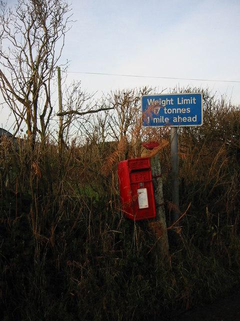 Post box at Molland Cross.