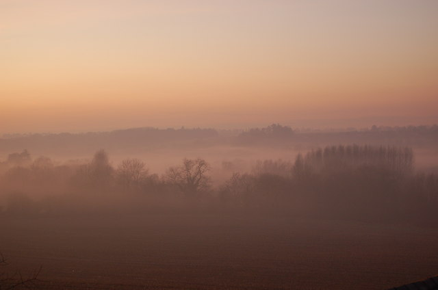 Lower Heyford Cherwell Valley in Evening Mist