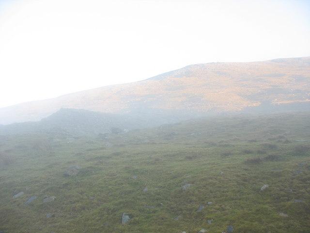 Gwastad Ffynnon-deg with the upper slopes of Elidir Fach in the background