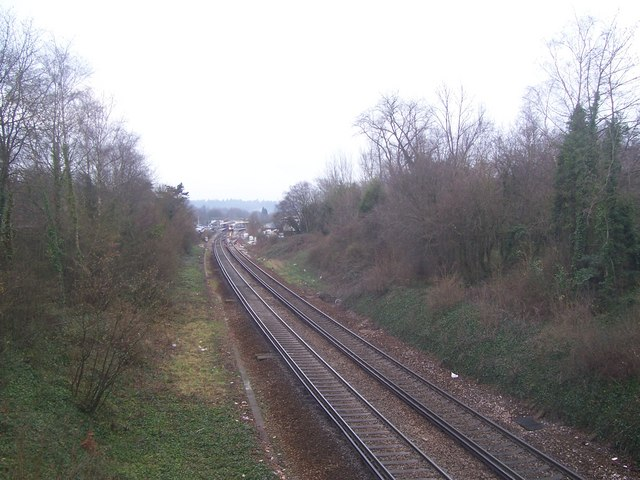 London to Portsmouth railway from Tanners La. bridge, Haslemere