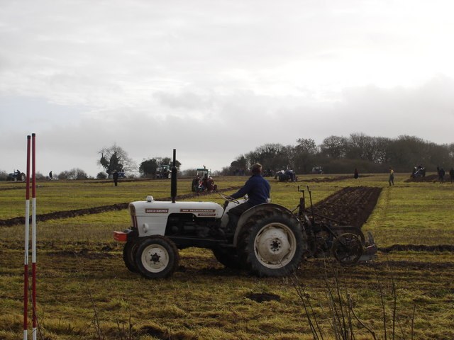 Tractor in Ploughing Match at Woodcutts