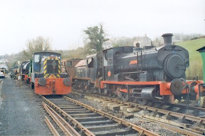 Engines sit and wait for a train!