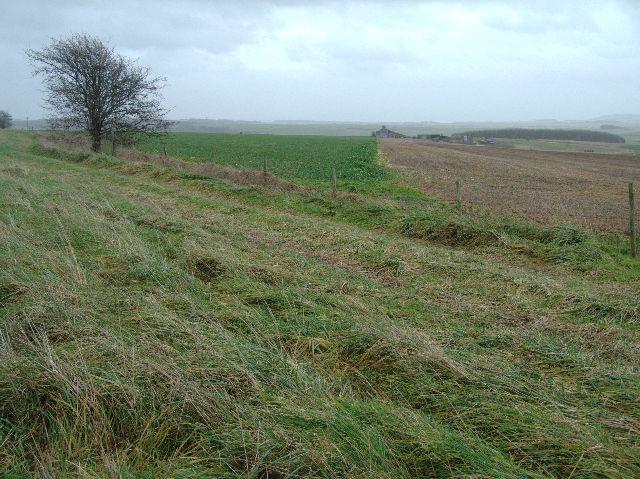 View over open fields towards Widdington Farm