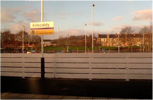 Kirkcaldy railway station platform.