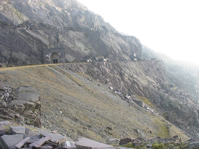 Dumped waste from the construction of the Dinorwig HEP station's shafts and tunnels below  Lernion