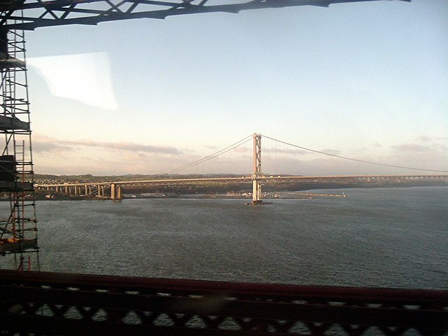 View from a train crossing the Forth Rail Bridge
