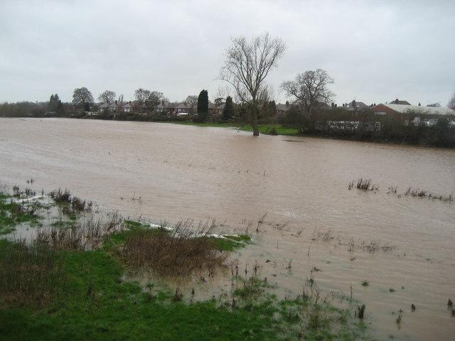 River Penk in flood at Radford, Stafford