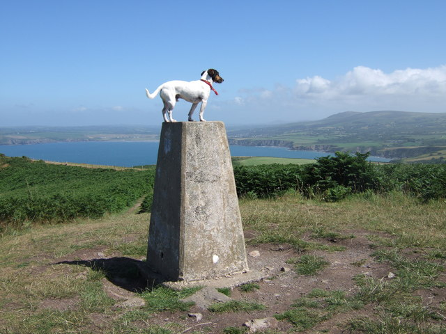 Trig point on Dinas Head