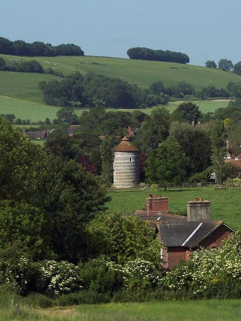 Faulston Dovecote from Faulston Down
