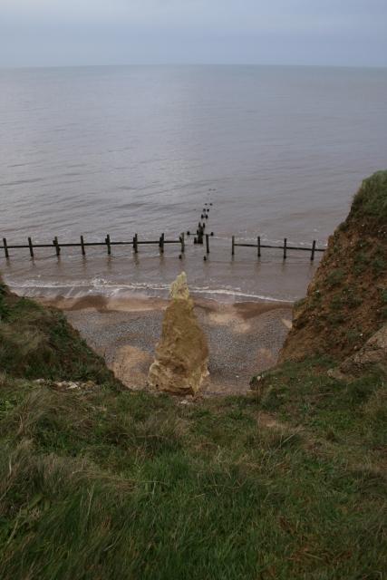 Eroding cliff pillar, Beeston Regis